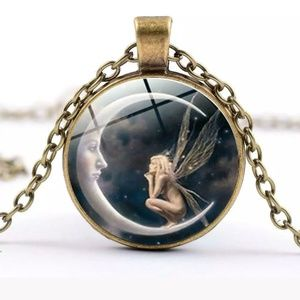 Fairy on Crescent Moon Bronze & Glass Necklace